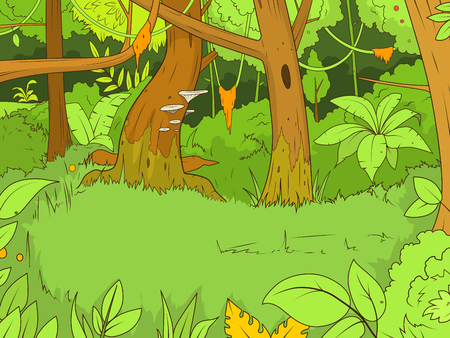 Jungle forest cartoon colorful funny hand drawn vector illustration Illustration