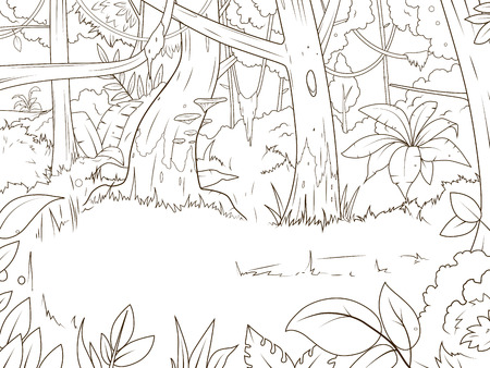 Animales De La Selva Para Colorear De Dibujos Animados Ilustración