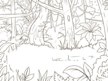 Dschungelwald cartoon Malbuch Vektor-Illustration