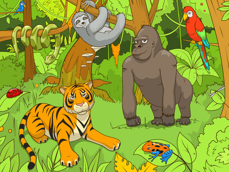 cartoon bug: Jungle animals cartoon colorful funny hand drawn vector illustration