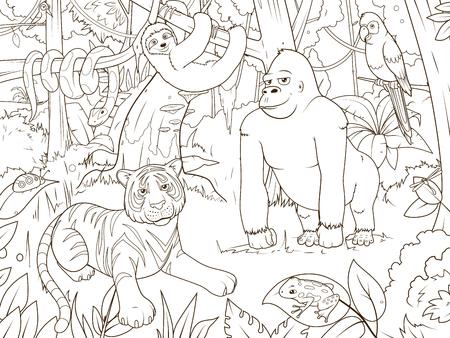 Bosque De La Selva Con El Colorante Animales De Dibujos Animados