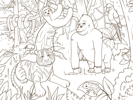 constrictor: Jungle animals cartoon coloring book vector illustration
