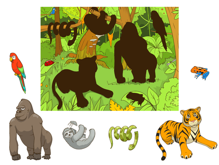 Jungle animals cartoon educational game colorful funny hand drawn vector illustration