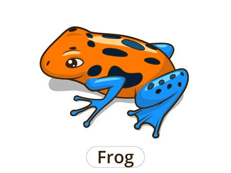 poison dart: Frog cartoon colorful hand drawn vector illustration