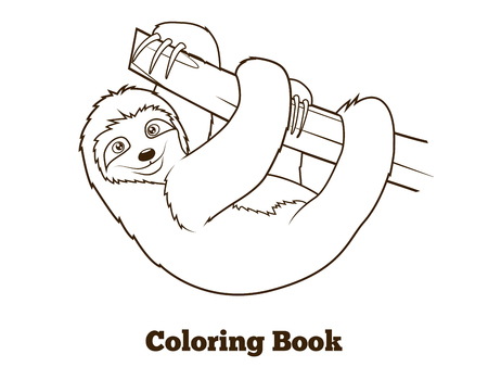 arboreal: Sloth cartoon coloring book colorful fun hand drawn vector illustration