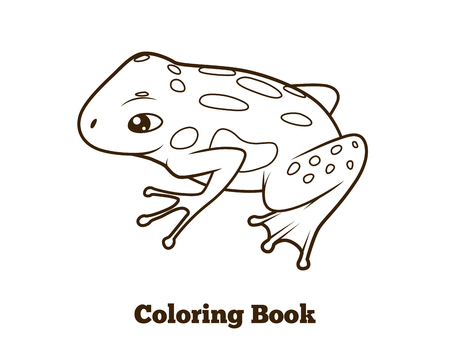 poison dart: Frog cartoon coloring book hand drawn vector illustration Illustration