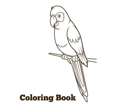 guacamaya: Loro de la historieta para colorear a mano ilustración vectorial dibujado