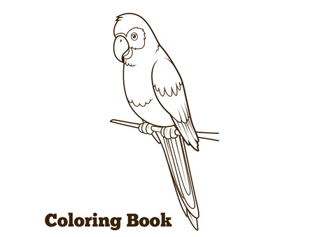 Parrot cartoon coloring book hand drawn vector illustration