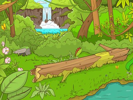 Bosque de la selva con la historieta waterfal ilustración vectorial