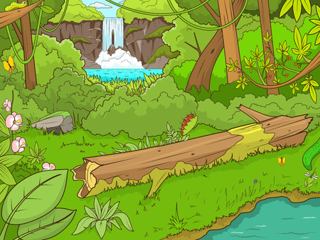Jungle bos met waterval cartoon vector illustratie