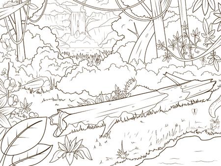 Animales De La Selva Para Colorear De Dibujos Animados Ilustración ...