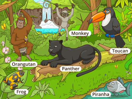 Jungle forest with animals cartoon vector illustration Иллюстрация