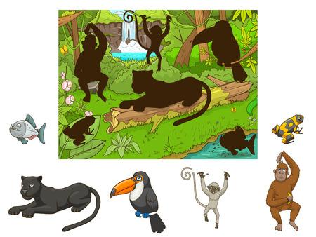 oruga: juego educativo de la selva de la historieta encontrar animales ilustración vectorial Vectores