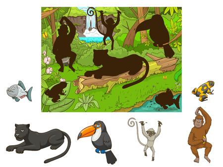 cartoon berries: Jungle cartoon educational game find animal vector illustration
