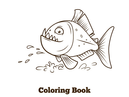 Piranha fish cartoon coloring book black lines vector illustration