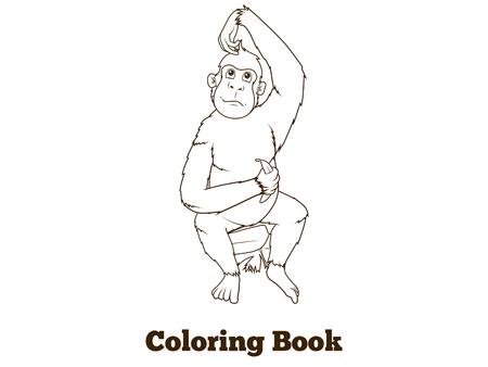 orangutan: Orangutan cartoon coloring book black lines vector illustration