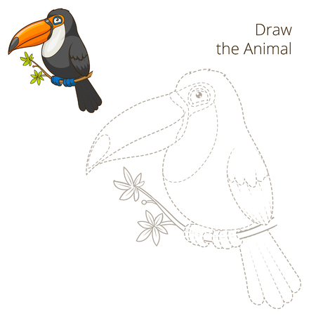 joining the dots: Draw the animal toucan educational game colorful cartoon vector illustration