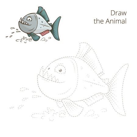 piranha: Draw the animal piranha fish educational game vector illustration Illustration