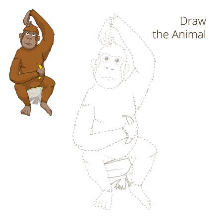 childen: Draw the animal orangutan educational game vector illustration