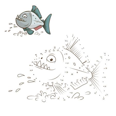 game fish: Draw the animal piranha fish educational game vector illustration Illustration