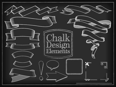 whorls: Vector illustration chalk style design elements ribbons placeholders Illustration