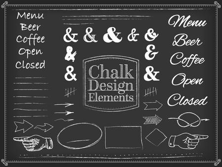 whorls: Vector illustration chalk style design elements ribbons arrows Illustration