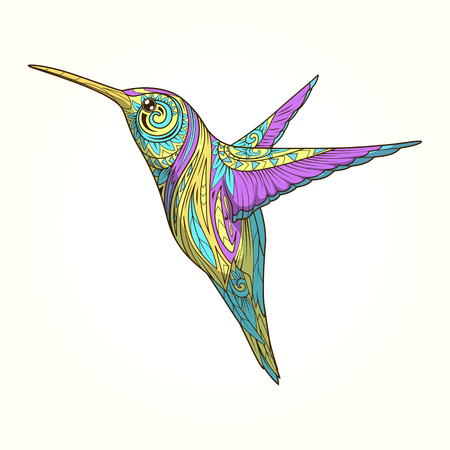 Hummingbird with abstract ornament hand drawn vector illustration, abstract ornament, colorful
