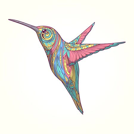 whorls: Hummingbird with abstract ornament hand drawn vector illustration, abstract ornament, colorful