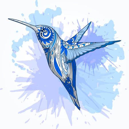 抽象的な飾り手描きベクトル イラスト、抽象的な飾り、色鮮やかな水彩画の背景とハチドリ