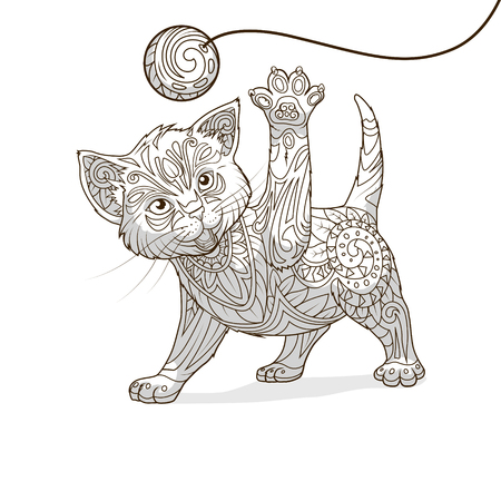 whorls: Kitten with abstract ornament hand drawn vector illustration, abstract ornament, black and white, colorless