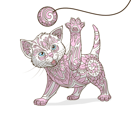 whorls: Kitten with abstract ornament hand drawn vector illustration