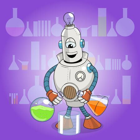 laboratory glass: Vector illustration cartoon robot makes science experiment, cartoon, robot, machine, colorful Illustration