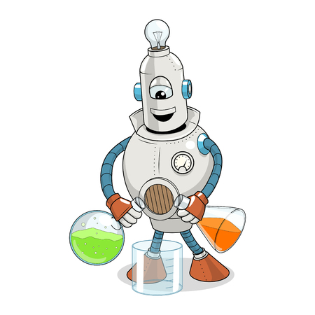 Vector illustration cartoon robot makes science experiment