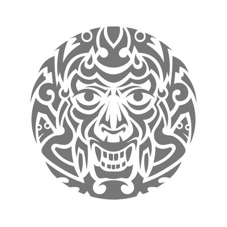 whorls: Evil face tribal tattoo ornament vector illustration