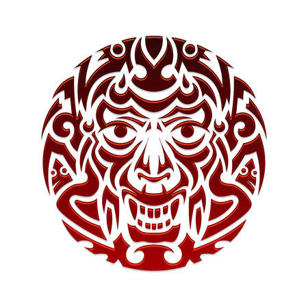evil face: Evil face tribal tattoo ornament vector illustration