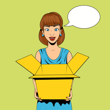 Young woman get a present vector illustration retro pop art halftone comics style