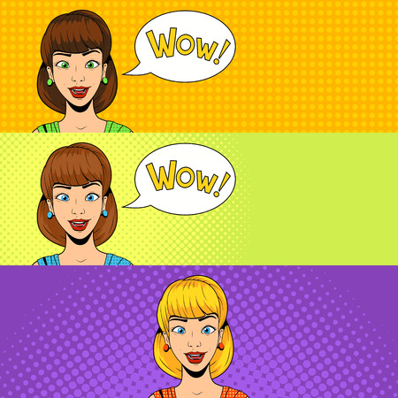 surprisingly: Young woman get a present vector illustration retro halftone pop art comics style