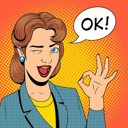 expression facial: Young woman get a present vector illustration retro halftone pop art comics style