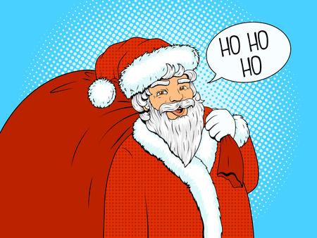 uomo rosso: Personaggio di Babbo Natale con il sacchetto rosso e bolla il testo pop art stile retr� illustrazione vettoriale