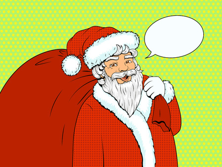 old people: Santa Claus character with red bag and text bubble pop art retro style vector illustration