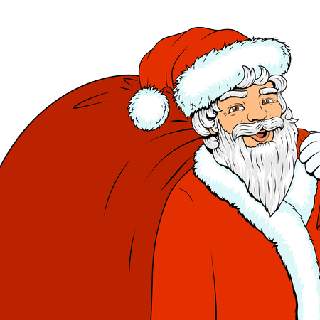 cartoon old man: Santa Claus character with red bag and text bubble pop art retro style vector illustration