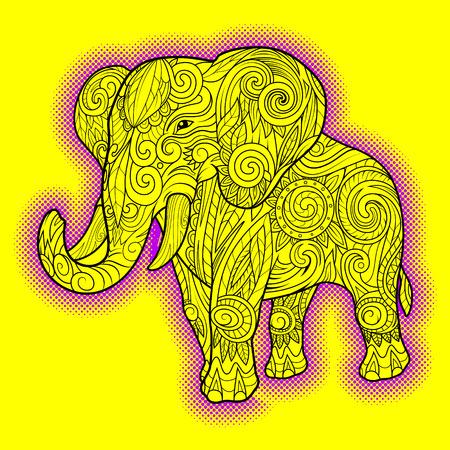 rounding: Elephant ornament ethnic tribal tattoo design vector illustration