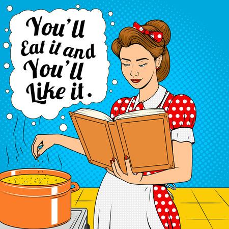 Esposa de belleza cocinar sopa ilustración vectorial estilo de tira cómica de arte pop de semitono retro