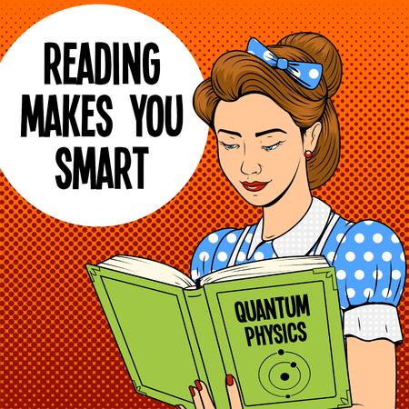 Jeune femme fille lisant un rétro en demi-teinte pop style de bande dessinée art quantique livre de physique illustration vectorielle