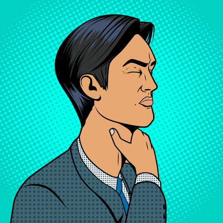 Mann mit harten Halsschmerzen alten Comic-Pop-Art-Retro-Stil Vektor-medizinische Illustration