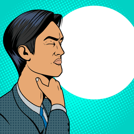 Man with hard sore throat old comic book pop art retro style vector medical illustration