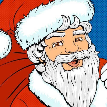 persona mayor: Car�cter estilo del arte pop de Santa Claus colorido ilustraci�n retro vector