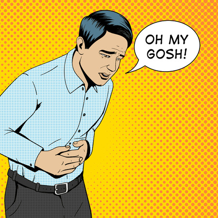 stomach pain: Man suffering with stomach pain pop art style retro vector illustration. Medical illustration. Comic book style.