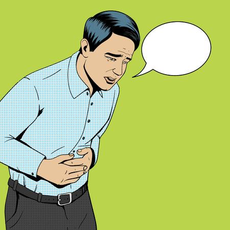 Homme souffrant avec rétro style vecteur pop art de douleurs à l'estomac illustration. L'illustration médicale. Style de bande dessinée.