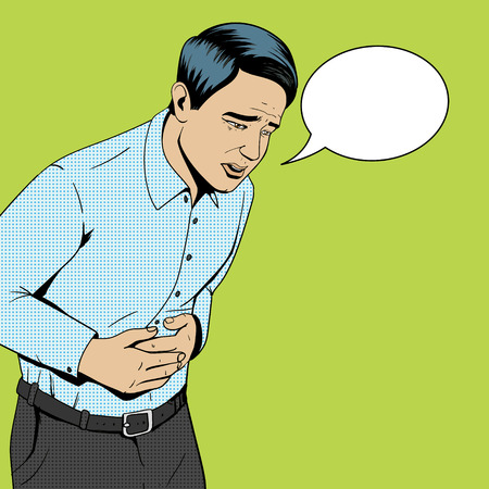 Man suffering with stomach pain pop art style retro vector illustration. Medical illustration. Comic book style.